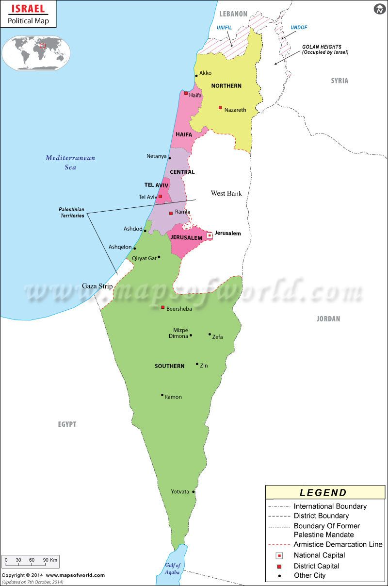 Israel political map showing the international boundary districts israel political map showing the international boundary districts boundaries with their capitals and national capital gumiabroncs Images