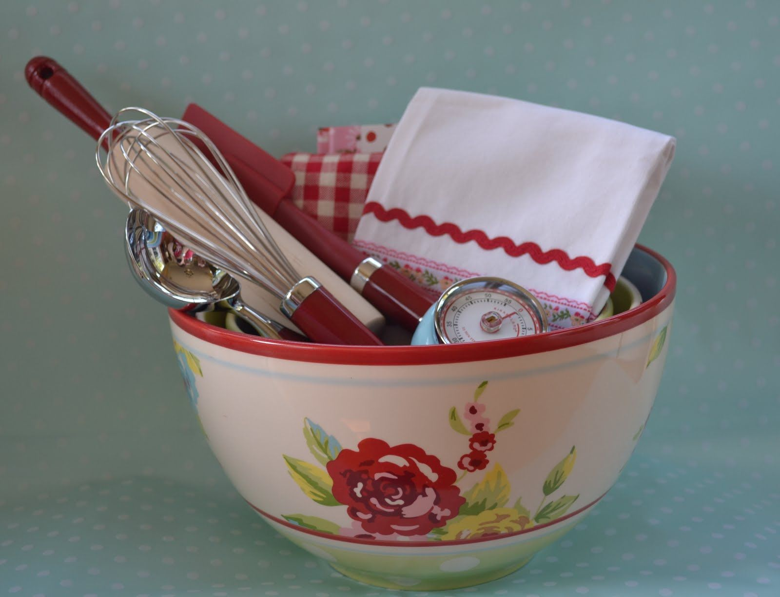 vintage bowl with kitchen tools and towels gift ideas