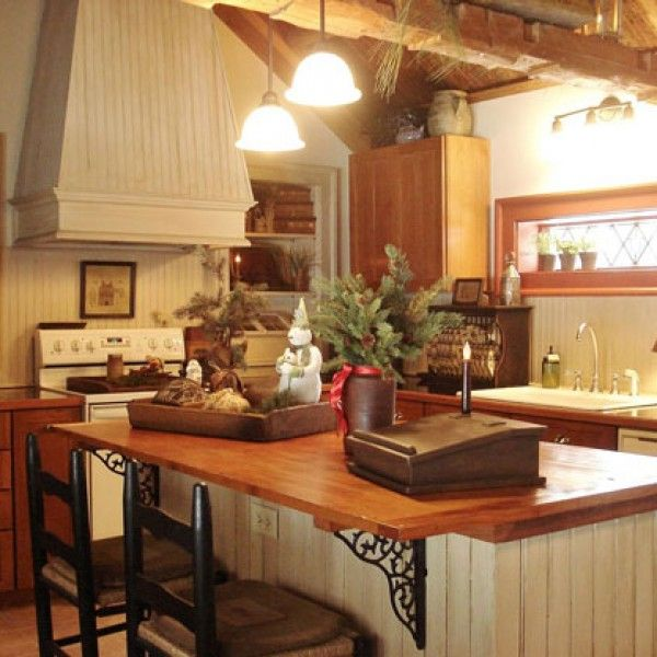 photos of primitive kitchen decorating ideas pinned for the island brackets and island chairs - Primitive Kitchen Decorating Ideas