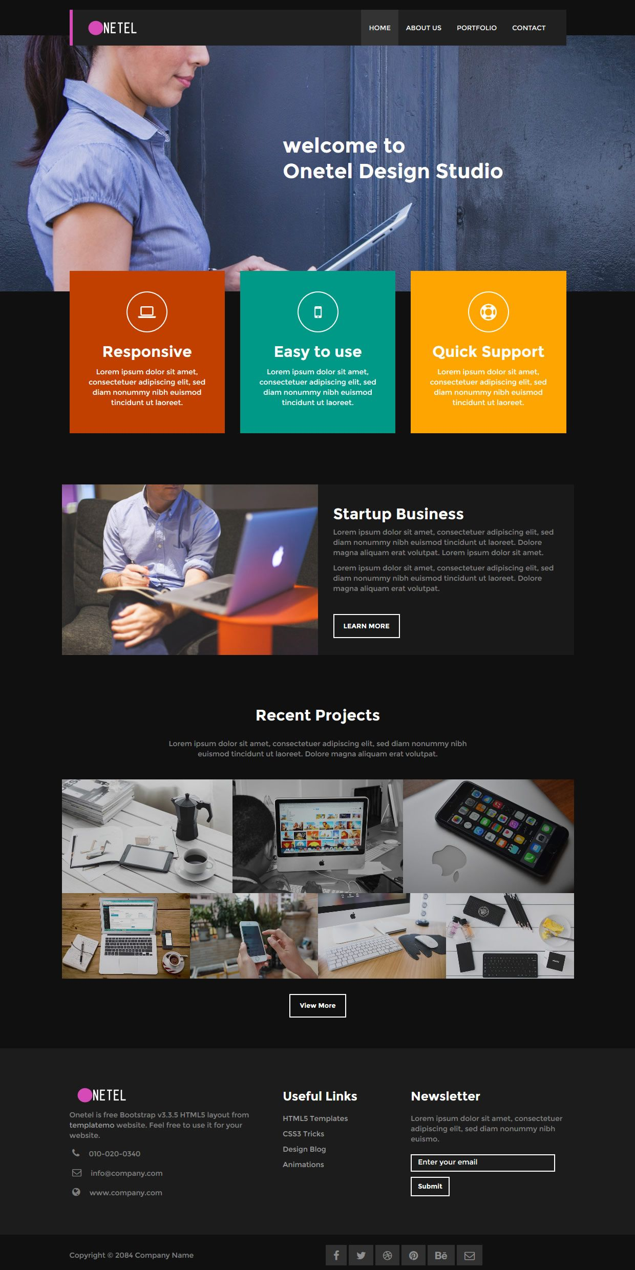 Onetel Is A Black Theme Bootstrap V3 3 5 Clean And Nice Layout Responsive Image Lightbox Portfolio Css Templates Css Website Templates Html And Css Templates