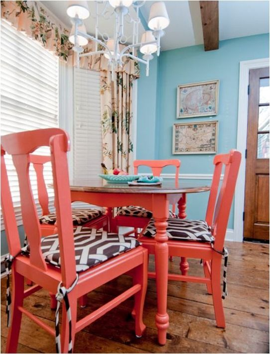 Coral Painted Chairs