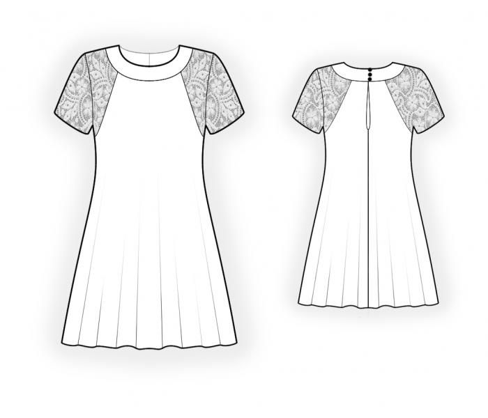 Dress With Lace - Sewing Pattern #4428. Made-to-measure sewing ...