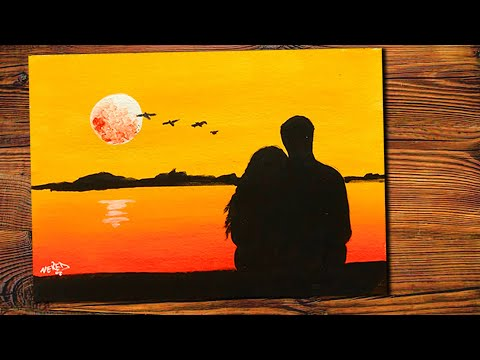 Easy Acrylic Painting Night Scenery | MoonLight Copule