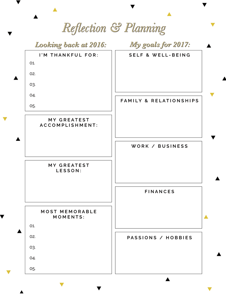 Free New Year Reflection and Planning Printables | Reflection, Free ...