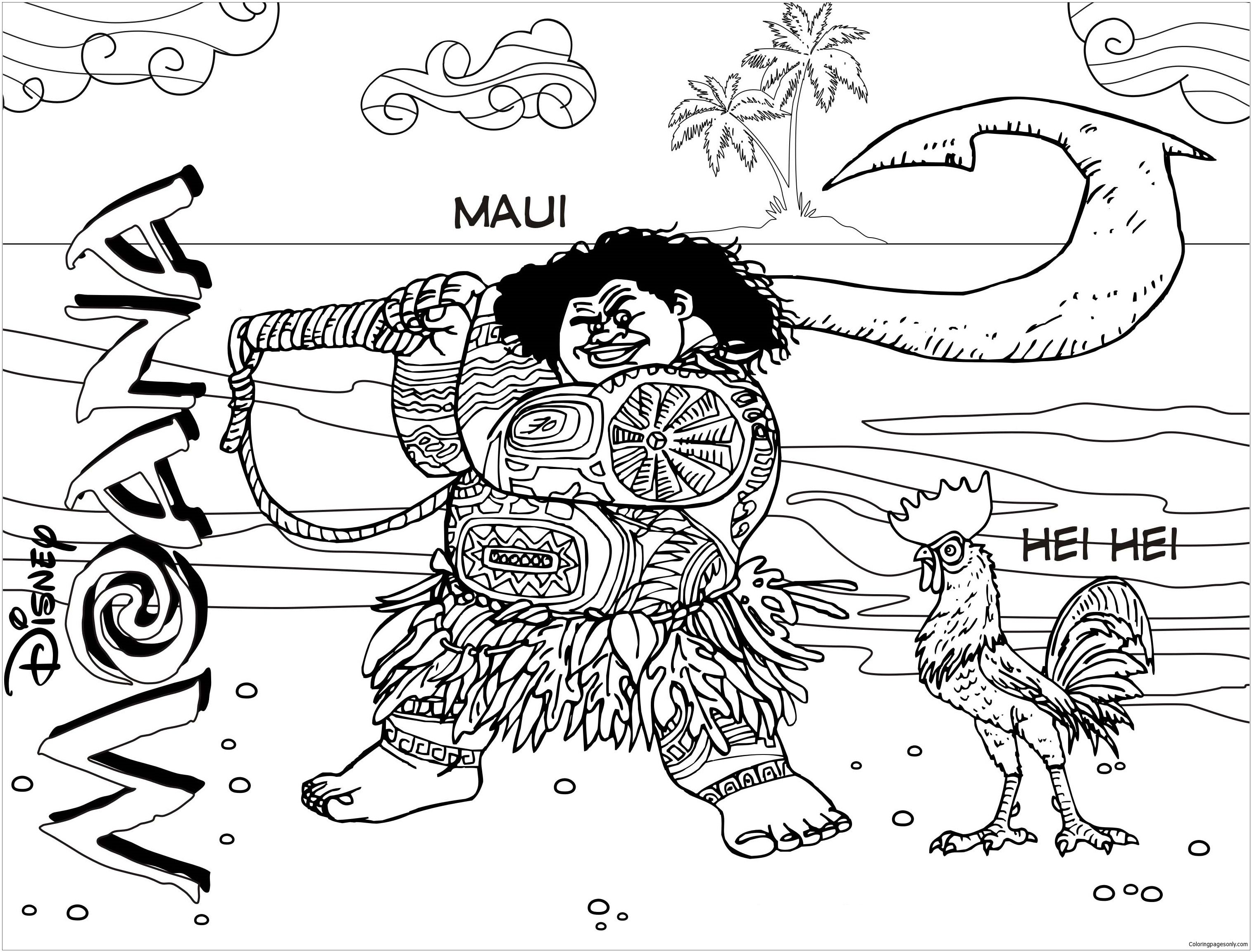 Maui And Hei From Moana Coloring Page