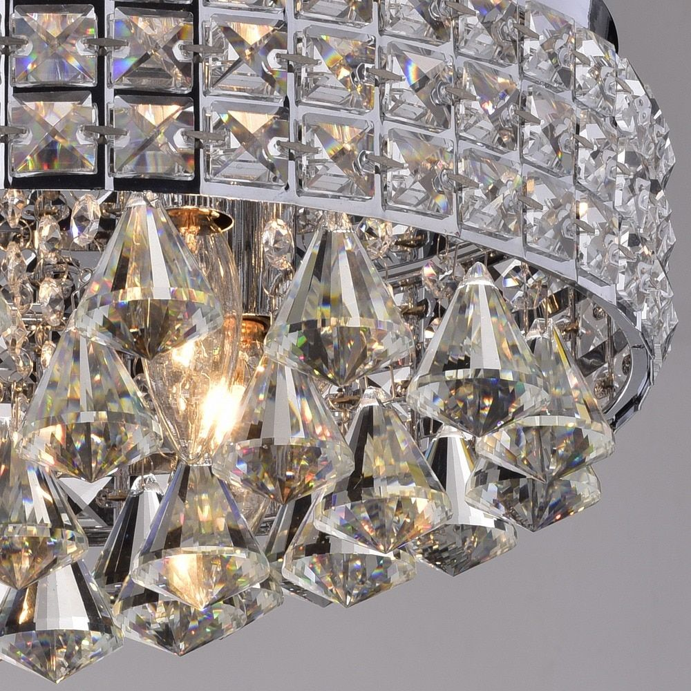 crystal flush mount chandelier. Antonia Ornate Crystal Flush Mount Chandelier In Chrome - Free Shipping Today Overstock.com
