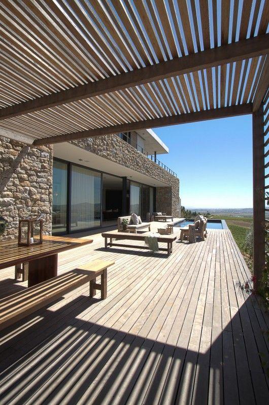 Hillside / GASS Architecture Studios Pierre, Terrasses et Extérieur - Cuisine D Ete Exterieure En Pierre