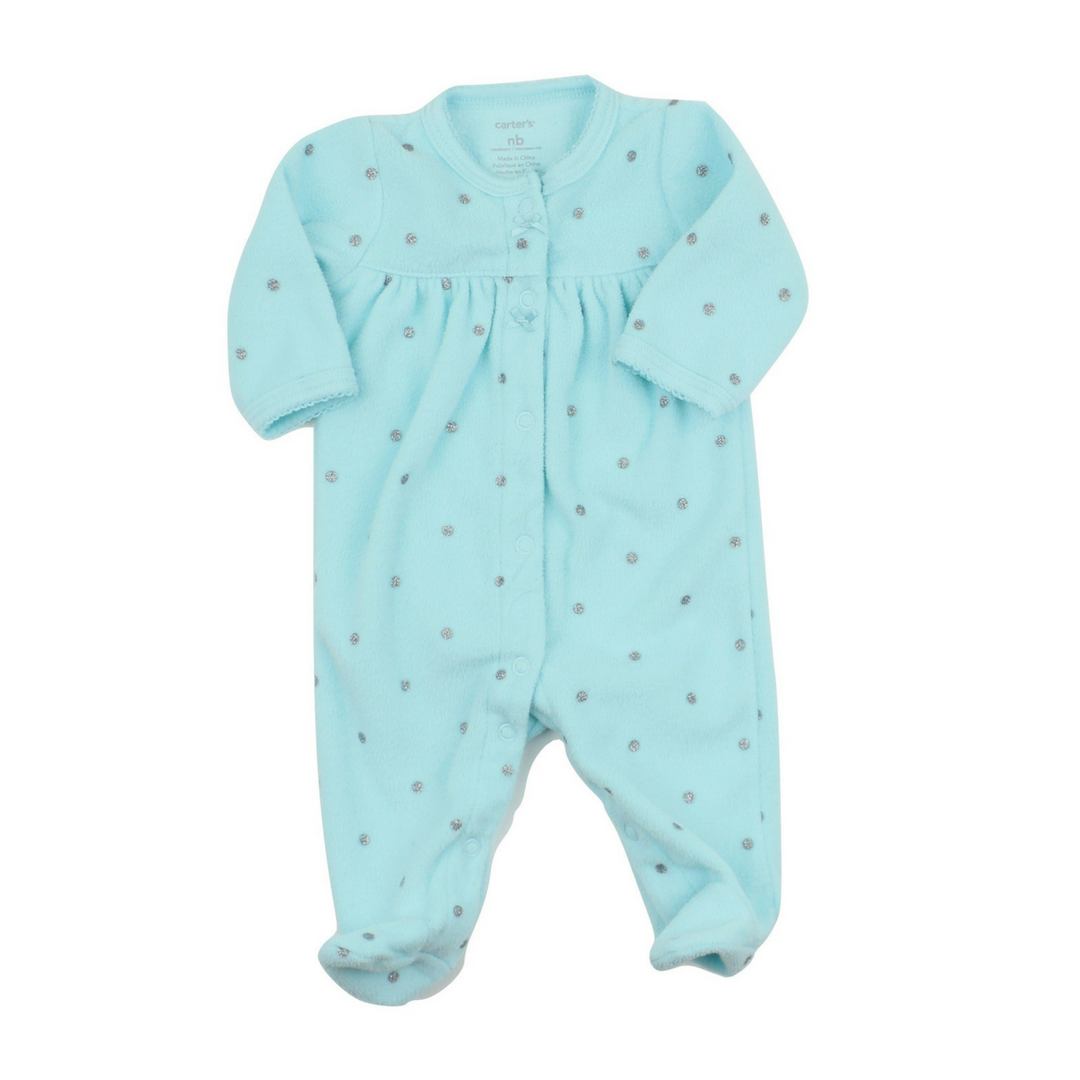 c7ac76a26 New Born Fleece Sleeper in Turquoise with Silver Polka Dots by ...