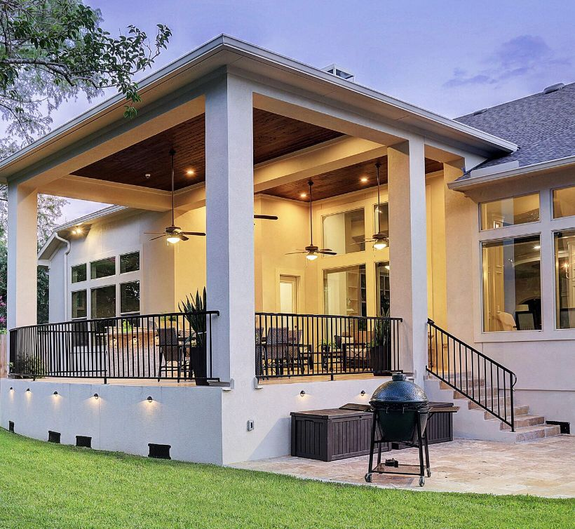 Elevated Patio Cover With Wrought Iron Railing And Travertine Tile Railings Outdoor Iron Railings Outdoor Patio Design