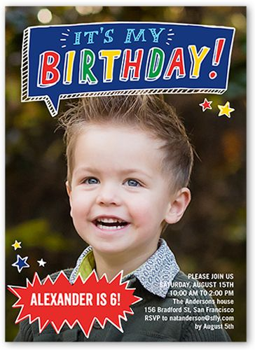 Birthday Invitations Talk Bubble Fun Square Corners Blue