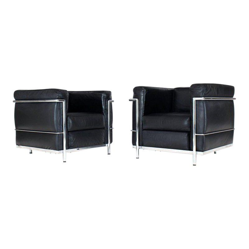 Peachy 1980S Vintage Alivar Lc2 For Le Corbusier Club Lounge Chairs Pabps2019 Chair Design Images Pabps2019Com