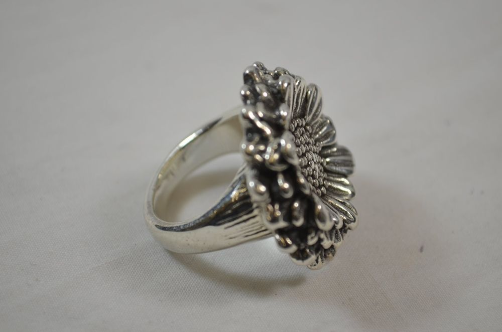 Sunflower Floral Motif Rs Thailand 925 Sterling Silver Qvc Size 8 Cocktail Ring Silver 925 Sterling Silver Rings