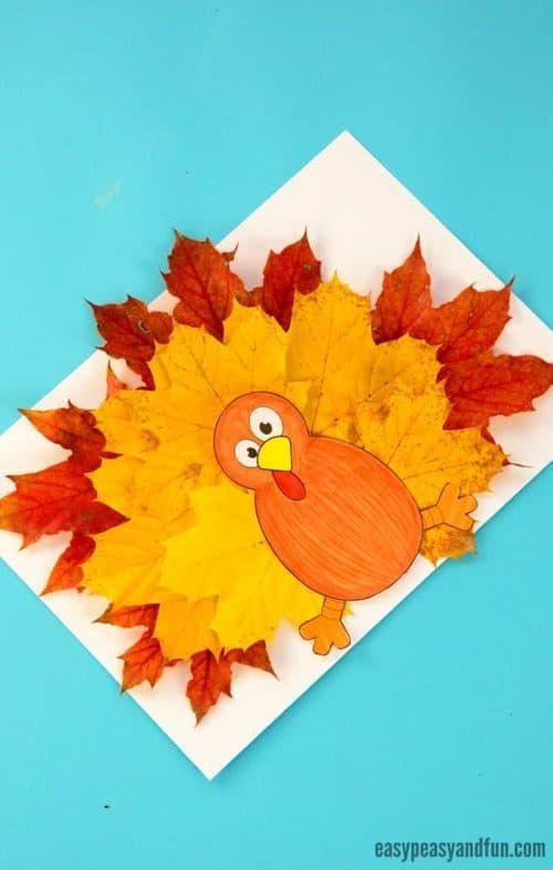 Easy Thanksgiving Crafts for Kids #leafcrafts