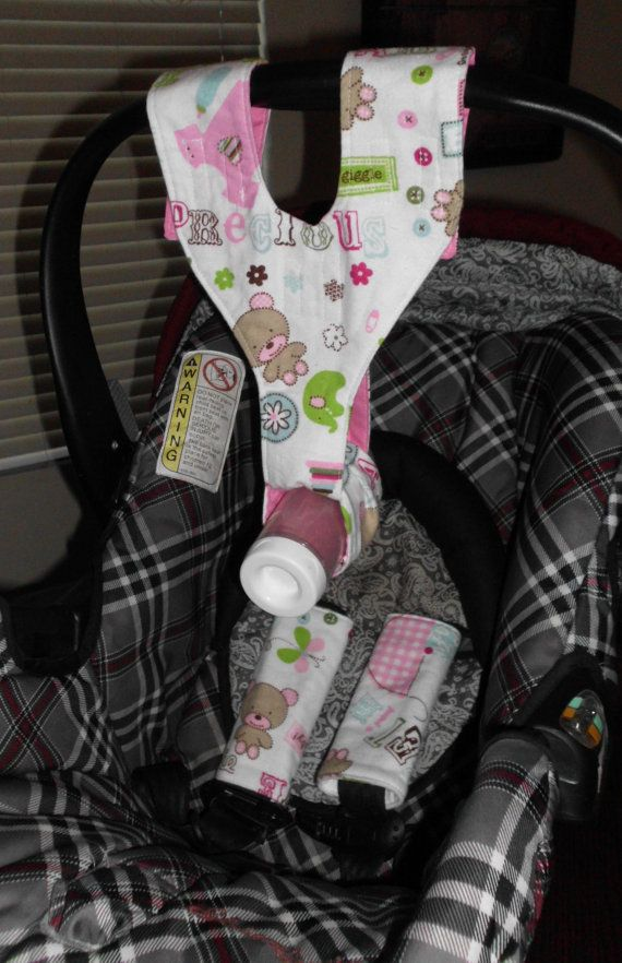 CAR SEAT SET Pink Girls Bottle Sling Strap By TheCraftyDucks 2500