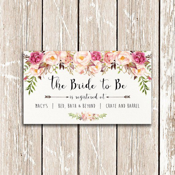 Gift Registry Cards In Wedding Invitations: Bridal Shower Registry Card, The Bride To Be Printable