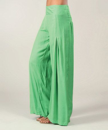 Green High-Waist Palazzo Pants