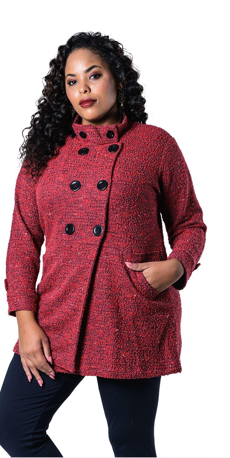 6a05ee547 Casaco Plus Size Lã Batida Vermelho, crie looks incríveis e modernos para  os dias frios. #estilo #modaplussize #estiloplussize #eusouplus  #meuestiloplussize ...