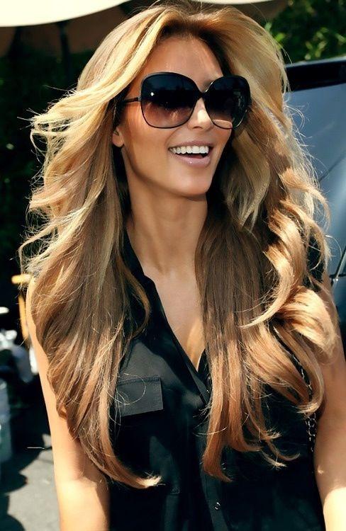 Blonde Kim K With Face Framing Layers Hair Hair Hair Styles