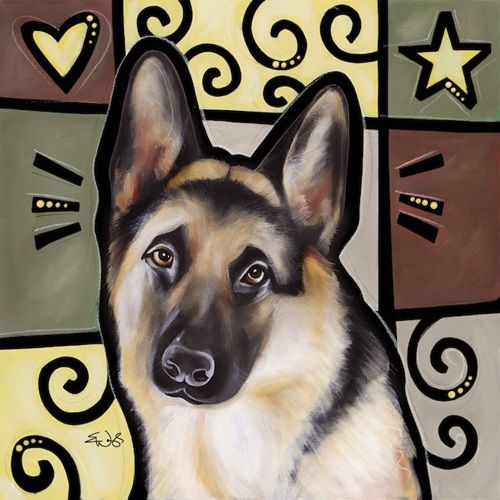 """""""German Shepherd Pop Art"""" canvas wall art by Eric Waugh from our Pop Art Dogs Collection. Check it out at CanvasOnDemand.com."""