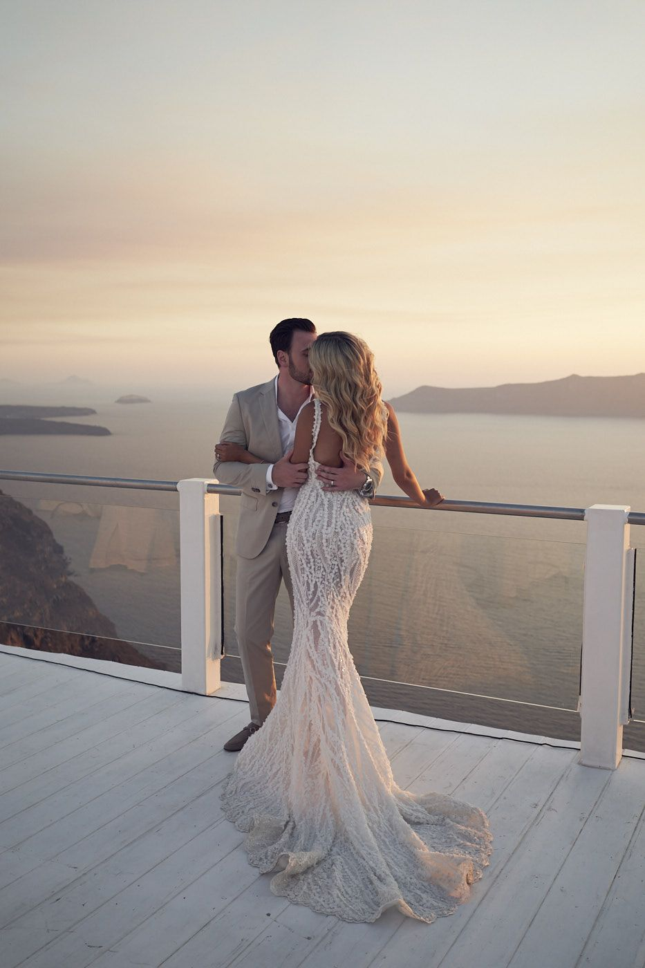 b5e30bed0a6 Beautiful Santorini Wedding at rocabella. Pallas Couture. Lost In Love  Photography