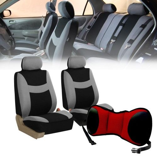 Car Front Bucket Seat Covers w/Red Seat Cushion Pad combo Auto Car SUV Gray, Grey