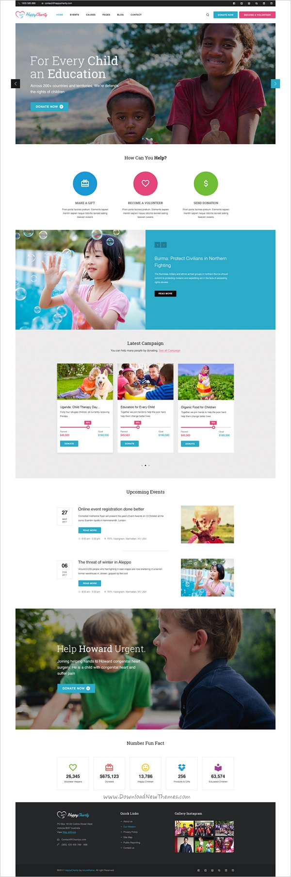 HappyCharity - Multipurpose Nonprofit Charity PSD Template | Psd ...