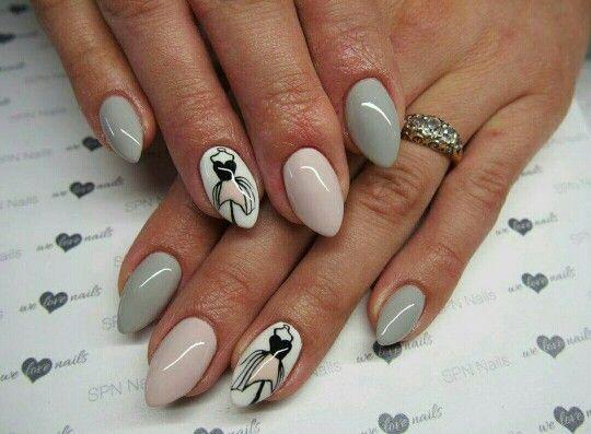Grey white pink dress nails
