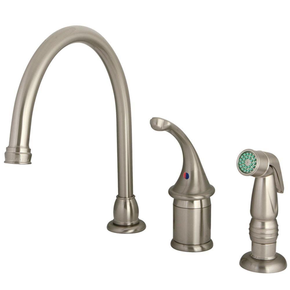 Kingston brass satin nickel georgian kitchen faucet with sprayer