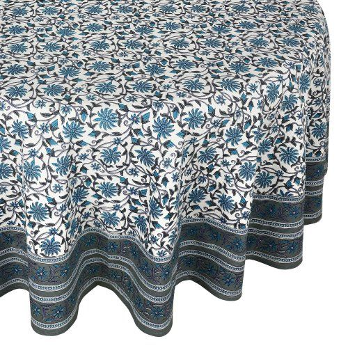 Charming Round Tablecloth Cover Grey Floral Indian 100% Cotton 70 Inches