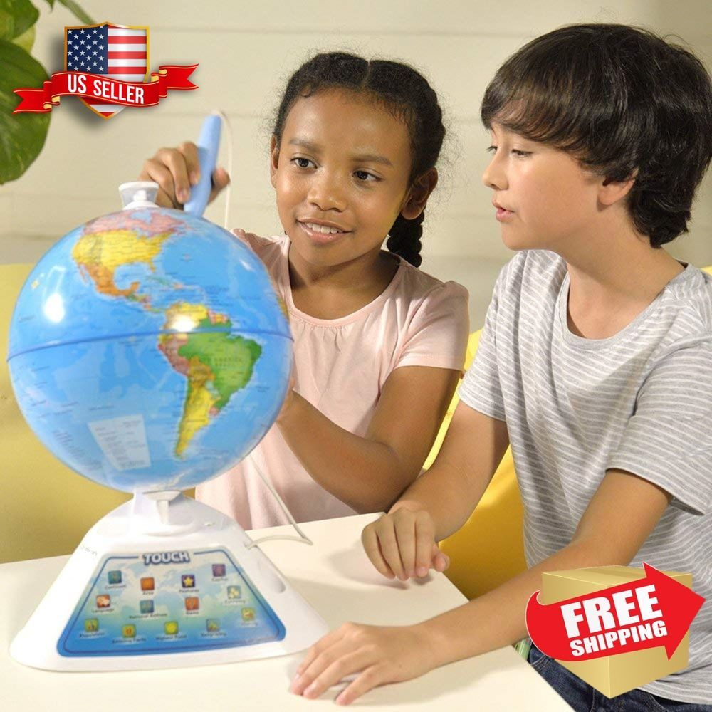 World Globe For Kids Geography Interactive Talking Earth Learn Educational Toys Kids Globe Kids Learning Toys Geography For Kids