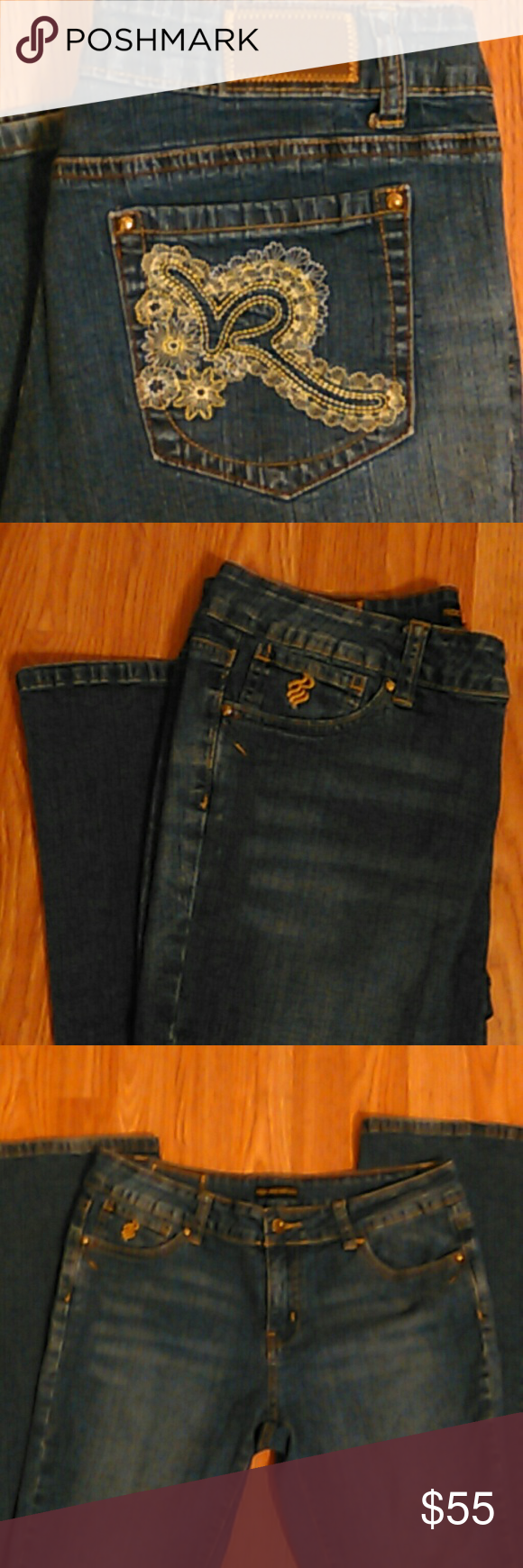NEW Roca wear jeans size 11!! NEW rocawear brand jeans women size 11 (98%cotton 2%spandex)  Nice logo design on back pockets.  Really nice pair of jeans.  Measurements are 33 inches in length! Rocawear Jeans