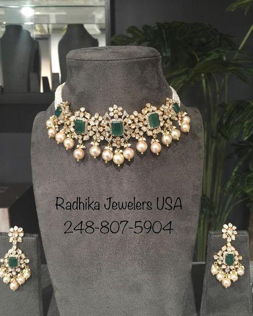 Polki Emerald Choker Indian Wedding Jewelry Kundan Jewellery Bridal Gold Necklace Indian Bridal Jewelry