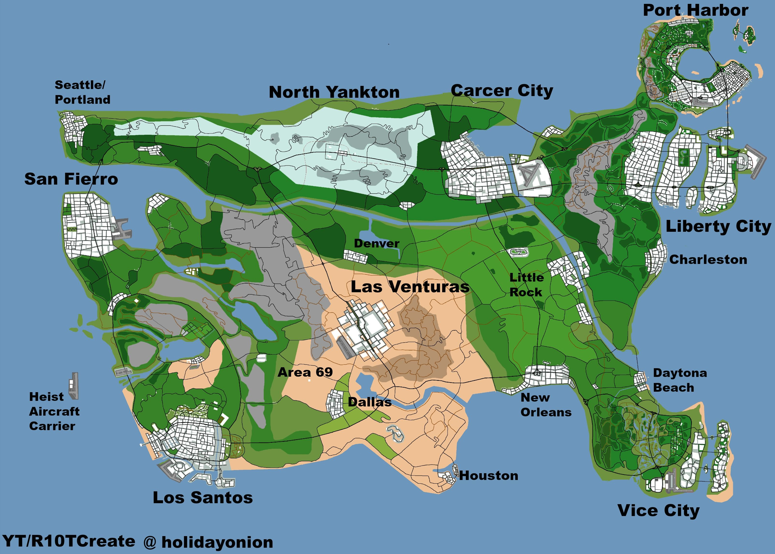 U S Map That Brings All Grand Theft Auto Cities Into One Map Gta Map New Aircraft