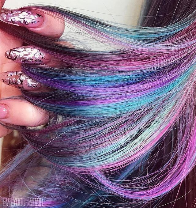 "19k Likes, 65 Comments - Lime Crime (@limecrimemakeup) on Instagram: ""Dark rainbow hair via @emilyboulinhair 🍭 using #UnicornHair in Pony, Chocolate Cherry, Anime and…"""
