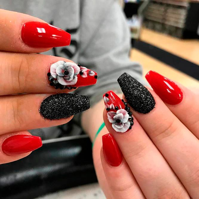 20 Vibrant Red Acrylic Nail Designs #nails #red #acrylic #holiday #simple  #christmas - 20 Vibrant Red Acrylic Nail Designs Acrylic Nail Designs And Pedi