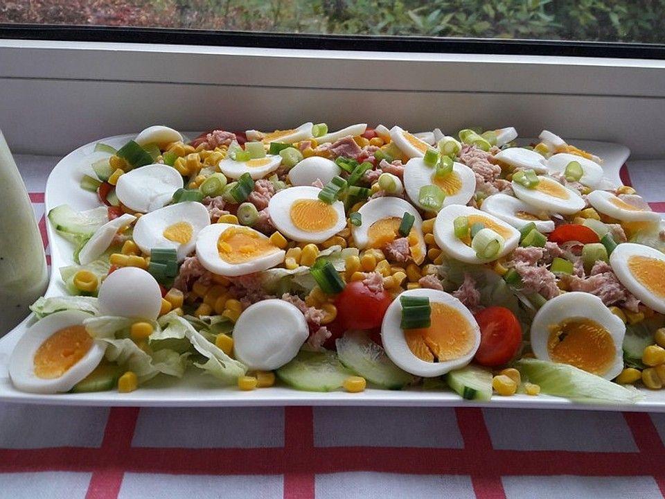 Gemischter Salat mit Eiern und Thunfisch | Chefkoch