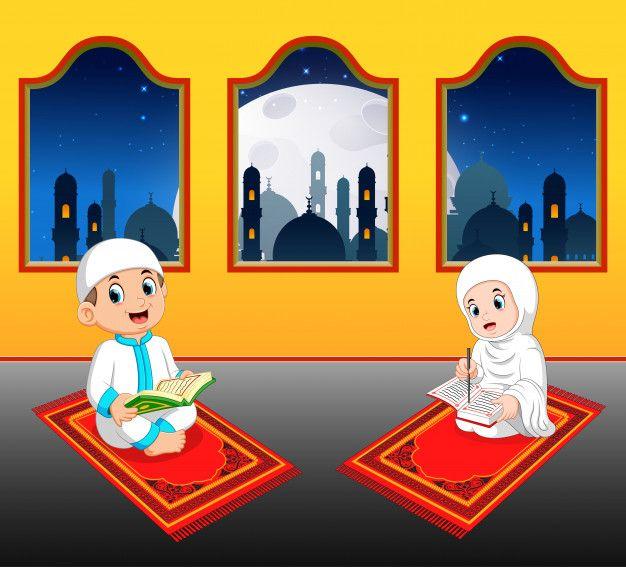 The Two Cte Children Are Reading Al Quran On Their Prayer Rug Near The Window Muslim Kids Activities Islamic Cartoon Quran