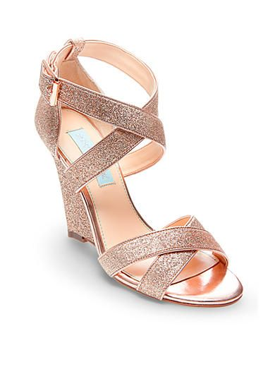 Betsey Johnson Cherl Sandals Wedge Wedding Shoes Rose Gold Shoes Gold Wedding Shoes