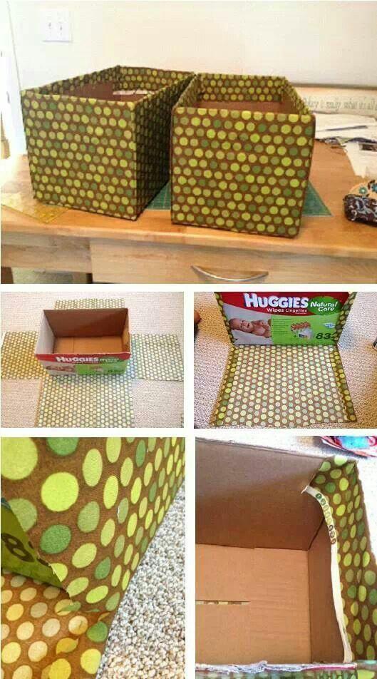 Forrar caja con tela organizaci n pinterest diy - Cajas decoradas para bebes ...
