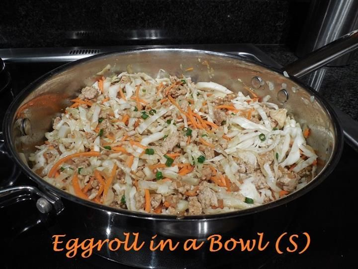 EGGROLL IN A BOWL (S) Same great taste you get in an eggroll, minus the deep fried wrapper! Easy to make, SUPER quick, and extremely budget friendly! (Makes 4 Servings)