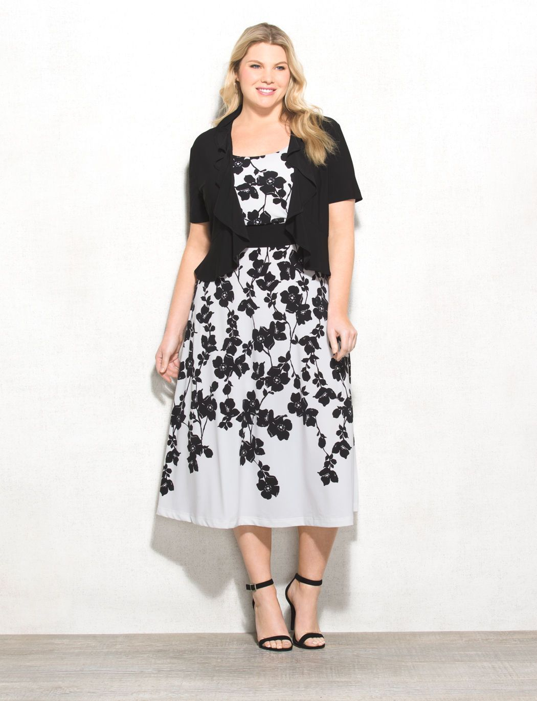 Plus Size Floral Print Jacket Dress. This dress and jacket