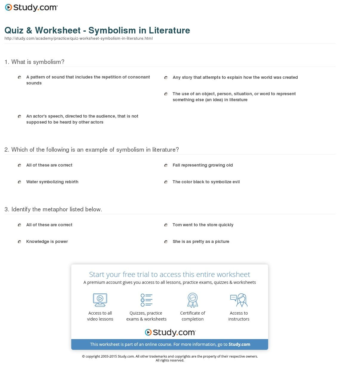 Teaching Symbolism In Literature Worksheets