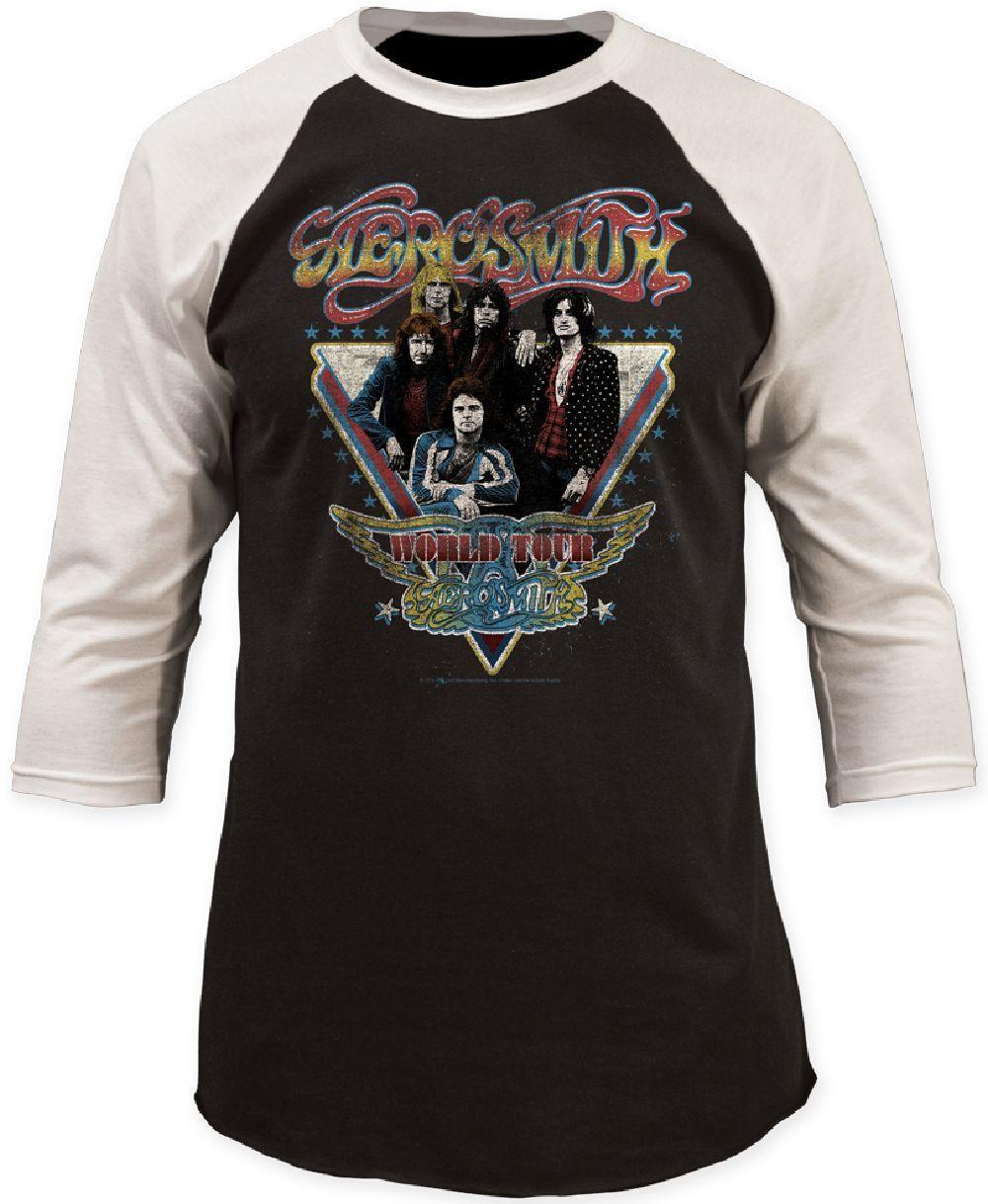 Aerosmith Concert T Shirt Aerosmith World Tour Vintage Baseball Jersey Concert Tshirts Tour T Shirts Baseball Tee Shirts