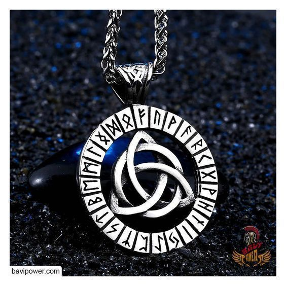 Runic Triquetra Pendant Necklace #vikingsymbols Runic Triquetra Pendant Necklace  This Runic Triquetra Pendant Necklace unites the Triquetra symbol with the magical rune circle that excellently presents both the majestic appearance and the power of each ancient Viking symbol.  #viking #norse #celtic #jewelry #bavipower #warrior #necklace #triquetra #rune #vikingsymbols Runic Triquetra Pendant Necklace #vikingsymbols Runic Triquetra Pendant Necklace  This Runic Triquetra Pendant Necklace unites t #vikingsymbols
