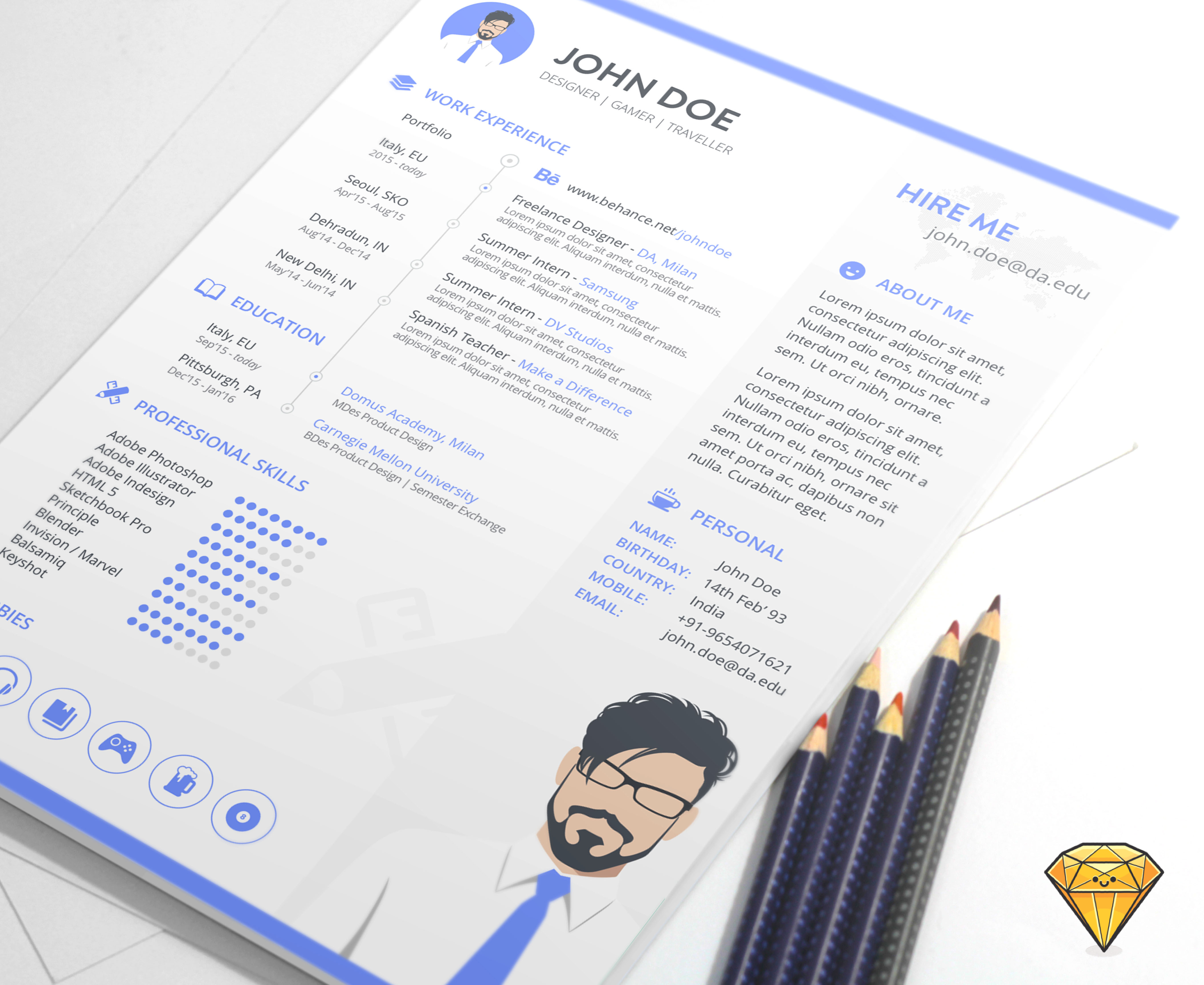 "Check out this @Behance project: ""FREE A4 Resume Template"" https ..."