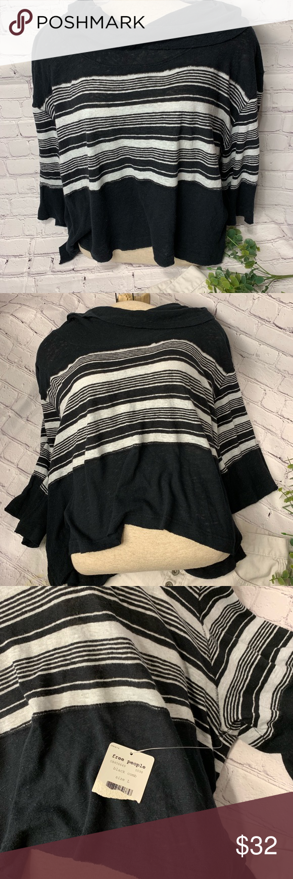 {Free People} Cowl Neck Crop Top | NWT | L {Free People} Cowl Neck Crop Top | NWT  Black/Cream Striped | Black Comb | We The Free Size Large  ***{Free People} Denim Cutoff Shorts available in separate listing!***  ᗪOᑎ'T ᒪIKᗴ Tᕼᗴ ᑭᖇIᑕᗴ?  ᔕᑌᗷᗰIT ᗩᑎ Oᖴᖴᗴᖇ!! Free People Tops #denimcutoffshorts
