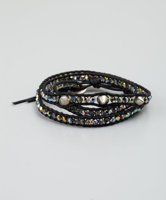 Chan Luu black crystal and spike leather wrap bracelet