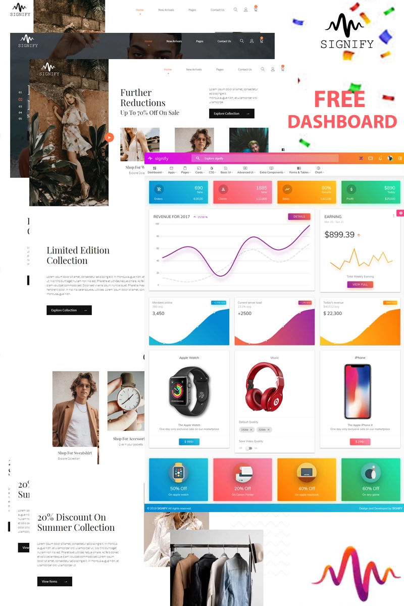 Signify with free Dashboard Website Template