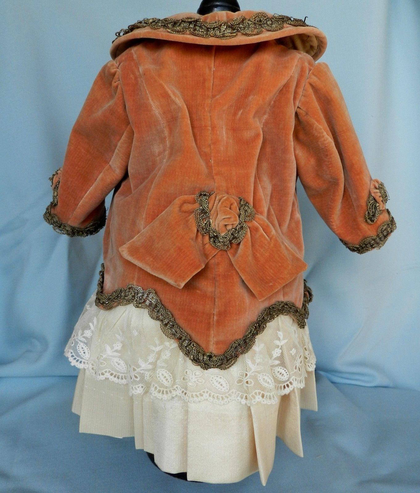 Antique French Velvet Silk Doll Dress for Antique French BEBE Bru Kestner Doll   eBay