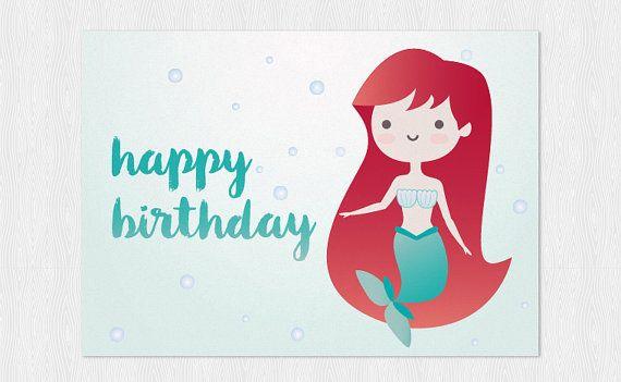 Little Mermaid Kawaii Happy Birthdays Card PDF DIY Di Cloudreams